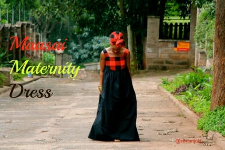 One of her designs - a maasai-themed maternity dress