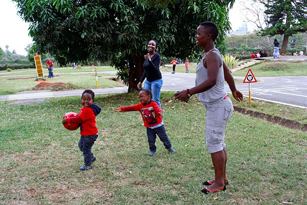 Parents engaged in lots of play with their kids too.