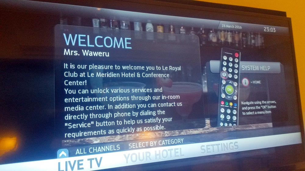My welcome note on the screen. How nice!