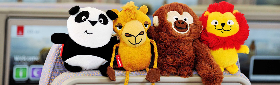 Peek U the panda, Laila the camel, Enrico the monkey and Lewis the lion. These lovelies are for kids who fly Emirates.