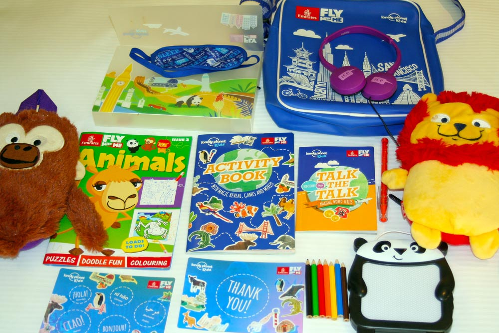 Some of the contents of Kitty's cool Emirates bag.