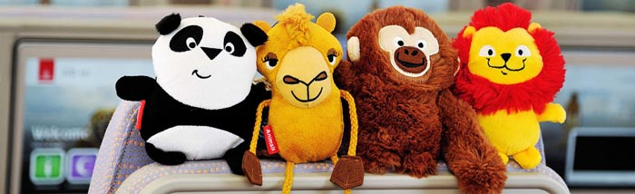 The cuddly toys: Peek U the panda, Laila the camel, Enrico the monkey and Lewis the lion. Every child flying Emirates gets one of these lovelies.