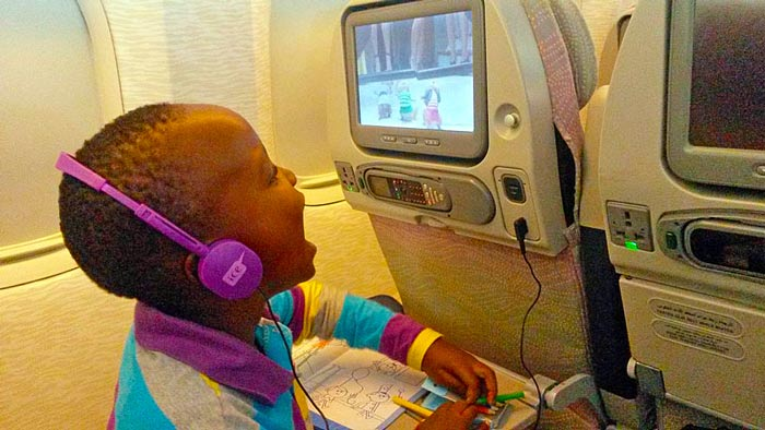 The in-flight entertainment that had lots of Disney movies and other kids TV shows.