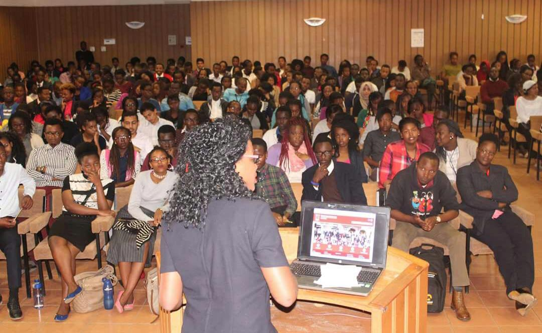 Ruth addressing her peers at Strathmore University.