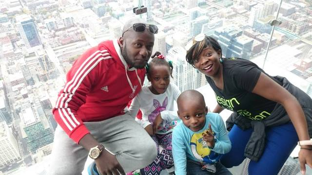 Mary and her family enjoying a moment at the Willis Tower.