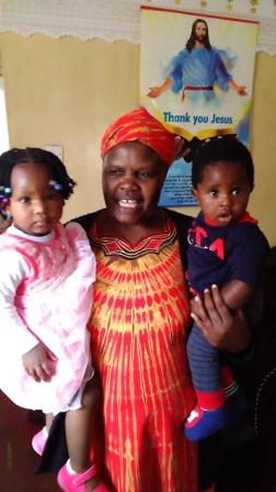 Grandma with her grandchildren.